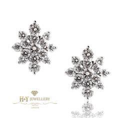 Snowflake Diamond Stud Earrings