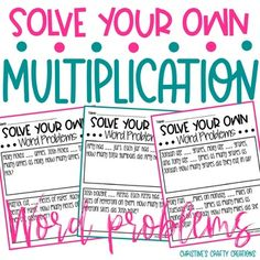 These 1-2 step multiplication problems are great for differentiation in the classroom. Students can choose the numbers in the problems. Great for partner work, independent work, or small group lessons. -24 word problems included.