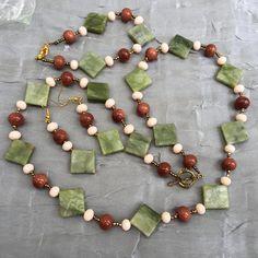 "Avocado green brown geometric jewelry set, 26"" Long necklace bracelet earrings, Natural Canadian jade, Art Deco jewelry, OOAK, ALFAdesigns"