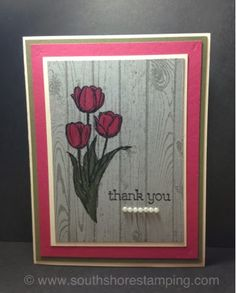 ♥ the bright tulip against the light wood • the tulips are from an Easter stamp