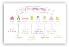 Les-Libellules - Programme Mots d'Amour - Un magnifique programme très graphique pour annoncer à vos invités le déroulement du jour J. Couleur rose et vert, manuscrit