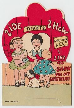 Vintage Greeting Card Valentine's Day Children Boy Girl Dog Ticket Booth j587