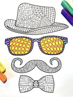 Hipster PDF Zentangle Coloring Page - fedora, glasses, mustache, bow tie Flower Art Drawing, Doodle Art Drawing, Mandala Drawing, Drawing Faces, Hipster Hat, Hipster Glasses, Mandala Doodle, Mandala Art Lesson, Free Coloring Pages