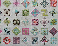 Instructions for sashings via www.cityhousestudio.blogspot.com.au; For the blocks set on point, I cut a 5 1/2 inch square on the diagonal,  then sewed these triangles on all four sides.  For the squared up blocks, I added 2 1/2 inch sashing to all 4 sides.  All blocks were then squared up to 9 inches.  There is another 2 1/2 inch border around the very edge of the quilt.