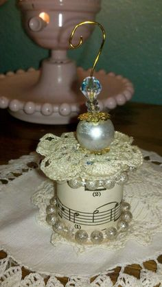 vintage thread spool ornament