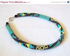CIJ SALE Bead crochet necklace with geometric pattern - Beaded rope necklace - Patchwork Ethnic necklace - Beadwork - native american neckla