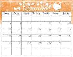 november and november calendar printable