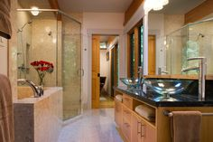 Master Bathroom Living inside Sunset Drive mid-century home redesigned by Virant Design.