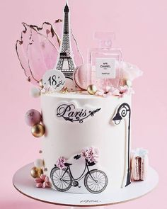 Paris Birthday Cakes, Paris Themed Cakes, Elegant Birthday Cakes, Paris Cakes, Beautiful Birthday Cakes, Birthday Cakes For Women, Beautiful Cakes, Fondant Cakes, Cupcake Cakes