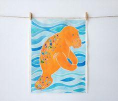 Homosassa Love tangerine manatee fine art print by Island of Blue