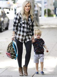 Busy Christmas Eve: Hilary Duff was spotted taking son Luca to a children's class in West ...