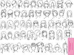how to draw chibi hair | Various Female Anime+Manga Hairstyles by =SabakuNoElli on deviantART