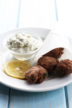 cookmegreek: Meatballs and tzatziki- Meze time! Greek Recipes, Meat Recipes, Greek Meze, Greek Appetizers, Greek Meatballs, Greek Cooking, Greek Dishes, Mediterranean Diet Recipes, Carne