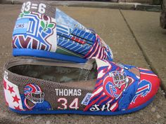 The Bills make me wanna shout, kick my heels up and shout! Buffalo Bills custom themed TOMs shoes