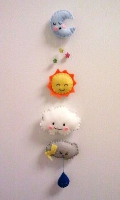 Felt Weather Magnets | Moon | Sun | Cloud | Rainy Cloud