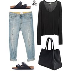 black long sleeve, rolled boyfriend jeans, black Birkenstock Arizona, black tote