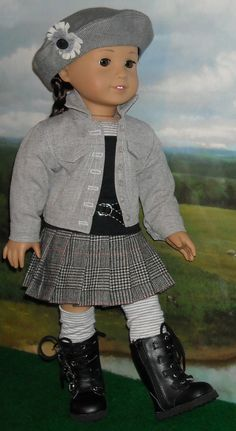 Denim Jean Jacket, Pleated Skirt, and Tee Outfit for Contemporary Girls by SugarloafDollClothes