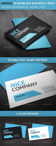 Professional Minimal Blue and Black Business Cards #graphicriver #business #corporate #professional $6