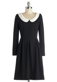 Record Store Date Dress - Black, White, Peter Pan Collar, Casual, A-line, Long Sleeve, Better, Collared, Mid-length, Knit, Exposed zipper, V...