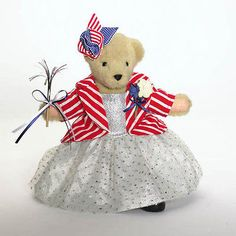 MUFFY VANDERBEAR  SPARKLER BALL Bear, Beige, Patriotic, Plush