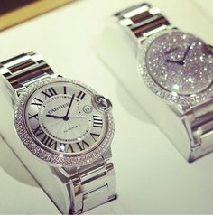 Cartier watches♥ Just like the one I have but with sparkles!