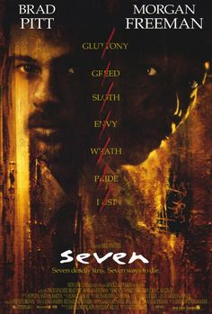 Seven. Brad Pitt, Morgan Freeman, Kevin Spacey, John C. Directed by David Fincher. Film Seven, Picture Movie, Love Movie, Movie Tv, Crazy Movie, Brad Pitt, Scary Movies, Great Movies, Horror Movies