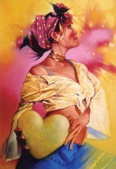 """Heartsof 2"" - Tertia du Toit, oil on canvas {colorful figurative art female profile standing woman painting} tertiadutoit.com"