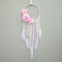 Flower Dream Catcher, Dreamcatcher Boho Chic decor Nursery decor Baby Shower Gift Kids Room Bedroom Decor Gifts for her - Dream catcher diy, Dream catcher, Dream catche - Dreamcatchers, Dream Catcher White, Diy Dream Catcher For Kids, Dream Catcher Bedroom, Dream Catcher Boho, Diy And Crafts, Arts And Crafts, Boho Bedroom Decor, Nursery Decor