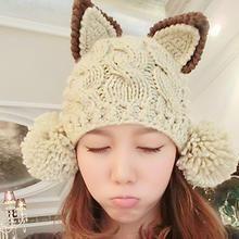 Biu Style - Ear-Accent Pompom Knit Beanie