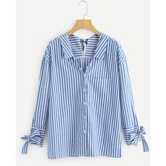 Self Tie Striped Blouse (1.56 BAM) ❤ liked on Polyvore featuring tops, blouses, blue top, stripe blouse, stripe top, blue blouse and blue striped top