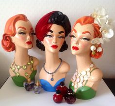 Pinup Burlesque Mannequin Head Jewelry Hat Display by DarlinDesign You Can Do I. Vintage Mannequin, Mannequin Heads, Pinup, Sculpture Head, Hat Display, Head Jewelry, Hat Stands, Vintage Pottery, Recycled Art