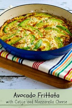 There's a lot to love about this low-carb and gluten-free Avocado Frittata with Cotija and Mozzarella Cheese. GET THE RECIPE Avocado Frittata with Cotija and Mozzarella Cheese submitted by Kalyn's Kitchen Healthy Low Carb Recipes, Low Carb Keto, Diet Recipes, Cooking Recipes, Egg Recipes, Cooking Ideas, Delicious Recipes, Vegetarian Recipes, Brunch