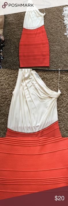 Cute dress Top part is white cotton. Bottom is stretchy and form fitting. Dress looks more peach/pink in person vs the orange in the picture Charlotte Russe Dresses One Shoulder