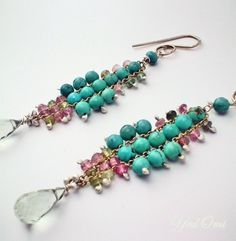 yed omi: turquoise and tourmaline woven dusters