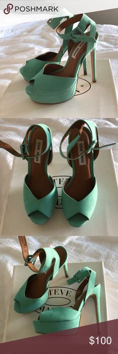 Steve Madden Cessily Mint Heels Steve Madden Cessily Mint Heels. Worn once to an outdoor event. Size 7.5. Some markings on right heel and around heel tack (seen in photos). Overall excellent used condition. Have been kept in original box since being worn. Steve Madden Shoes Heels