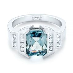 Custom Aquamarine and Diamond Engagement Ring | Joseph Jewelry | Bellevue | Seattle | Online | Design Your Own Engagement Ring