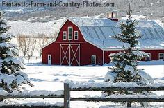 This looks just like my friend's barn who lives back on the east coast. I love the contrast of the white snow and the red barn. Nature is color blocking too now!