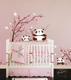 Wall Decal Sticker Pandas Having Fun in Cherry Blossom Field - — Removable Wall Decals & Stickers by My Friend Matilda; pandas and cherry blossoms. Could use for the girl cherry blossom theme I guess. Removable Wall Decals, Vinyl Wall Stickers, Wall Decal Sticker, Panda Nursery, Baby Girl Nursery Themes, Themed Nursery, Nursery Wall Decals, Nursery Room, Wall Mural