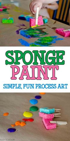 Sponge Painting Process Art: Super quick and easy toddler art activity; indoor a… Sponge Painting Process Art: Super quick and easy toddler art activity; fun process art for toddlers and preschoolers Toddlers And Preschoolers, Art Activities For Toddlers, Infant Activities, Art Projects For Toddlers, Easy Crafts For Toddlers, Easy Toddler Crafts 2 Year Olds, Activities For 4 Year Olds, Arts And Crafts For Kids Toddlers, Early Childhood Activities