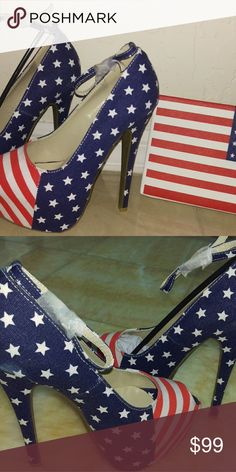 American flag shoes AND clutch high heels Beautify American flag set Shoes Heels