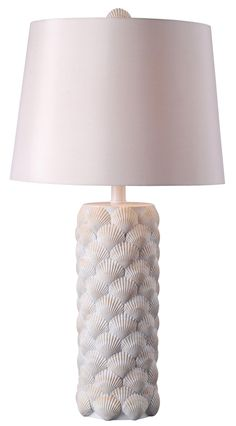 Shell Table Lamp - Our classic Shell lamp base, with an updated finish and shade, is a little brighter, augmenting the same beautiful, authentic shell texture. #nautical #interior #design