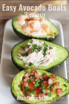 This is recipe heaven for those who don't like to cook. Healthy easy avocado boats filled with tuna mayo, prawn cocktail or a baked egg with bacon bits. Whole30 Dinner Recipes, Lunch Recipes, Low Carb Recipes, Healthy Recipes, Paleo Meals, Healthy Appetizers, Appetizer Recipes, Healthy Food, Healthy Cooking