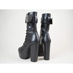 90s Goth Black Matte Leather Lace Up Buckled Mega Platform Boots UK... ($130) ❤ liked on Polyvore featuring shoes, boots, gothic buckle boots, buckle boots, black boots, goth shoes and gothic lolita shoes