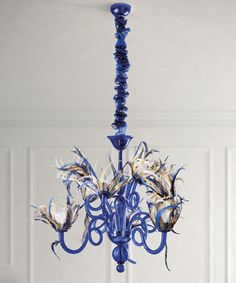 Wasabi: Blown glass Chandelier and wall sconce.