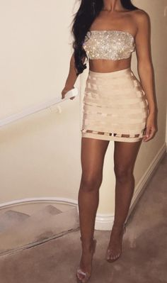 Bandage cage skirt with crystal sparkle bandeau - Fashion Moda 2019 Mode Outfits, Sexy Outfits, Sexy Dresses, Cute Dresses, Dress Outfits, Fashion Outfits, Dress Fashion, Bad And Boujee Outfits, Club Outfits For Women