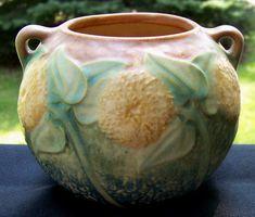 #Roseville #Sunflower 4 inch Urn #Flower Pot #Vase  ca. 1930 from Cousins Antiques http://www.rubylane.com/item/494613-pott738-bg3408/Roseville-Sunflower-4-inch-Urn