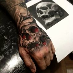 Tattoos I've done and tattoos I like : Photo Mandala Hand Tattoos, Skull Rose Tattoos, Skull Sleeve Tattoos, Best Sleeve Tattoos, Body Art Tattoos, Full Hand Tattoo, Hand Tats, Hand Tattoos For Guys, Best Cover Up Tattoos