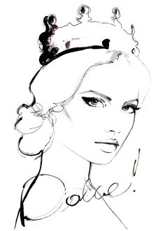 """ inspiration: Magdalena Frąckowiak for Elle Poland September 2013 wearing Dolce & Gabbana crown fashion illustration by kornelia dębosz Face Sketch, Drawing Sketches, Art Drawings, Sketch Art, Fashion Illustration Face, Illustration Mode, Fashion Illustrations, Black White Fashion, Black And White"