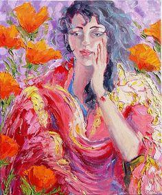 "Poppies & Magenta Shawl by Michelle Chrisman Oil ~ 24"" x 20"""