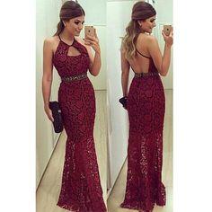 burgundy Prom Dress,long Prom Dress,lace Prom dress,backless prom Dress,evening Dress,BD605